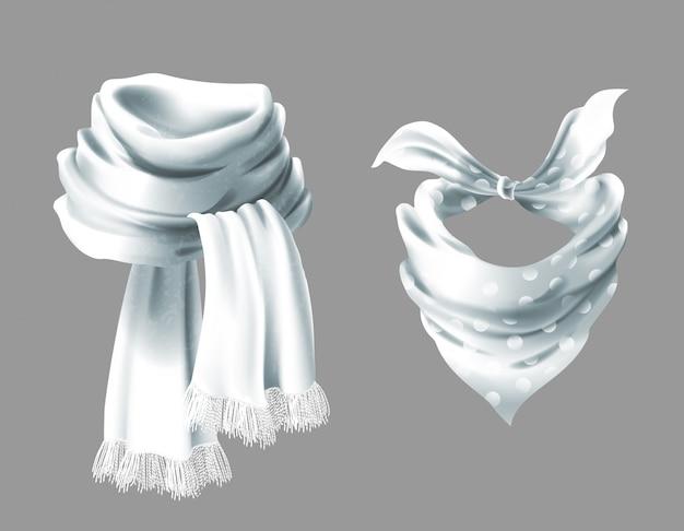 Écharpe blanche en soie réaliste 3d. tissu en tissu de foulard en pointillé. Vecteur gratuit