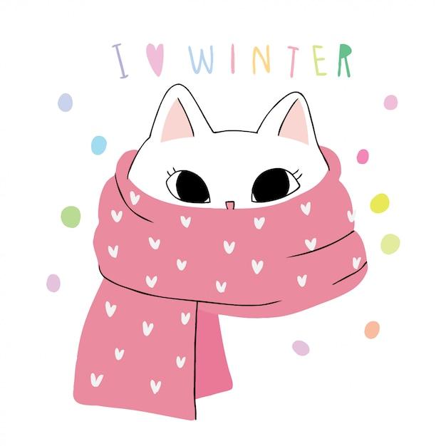 Écharpe et chat d'hiver mignon Vecteur Premium