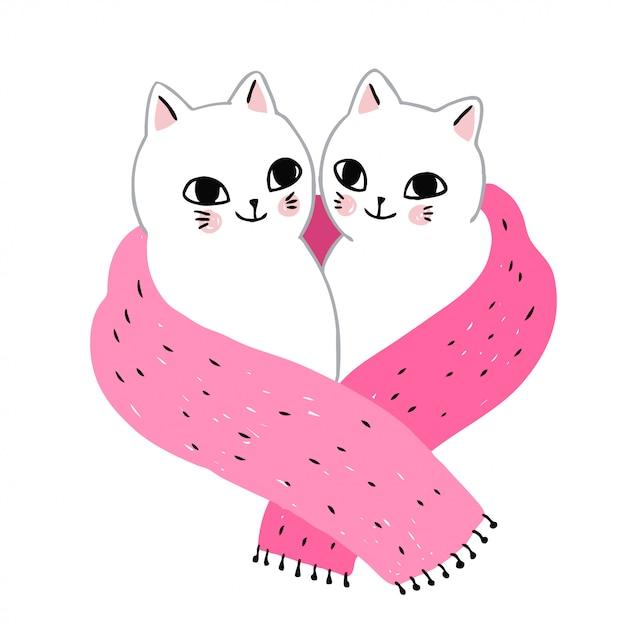 Écharpe et couple mignon de chats d'hiver Vecteur Premium