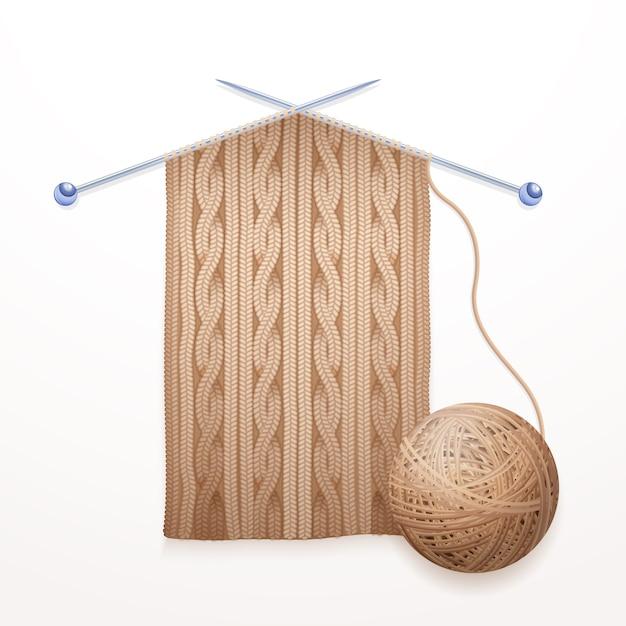 Écharpe processus de tricotage pictogramme plat illustration Vecteur gratuit