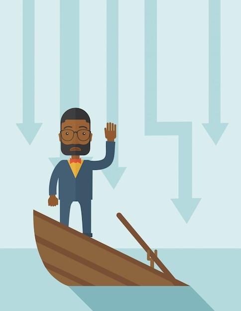 Échec homme d'affaires noir debout sur un bateau en perdition. Vecteur Premium