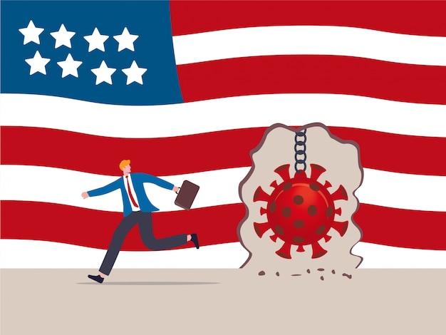 Échec De La Protection Contre Les épidémies De Virus, Le Virus Covid-19 Détruit Et Brise Le Mur Dans Le Concept Des états-unis, Détruisant La Balle Alors Que Le Pathogène Covid-19 Détruit Le Mur Du Drapeau Des états-unis D'amérique, L'homme D'affaires S'enfuit Vecteur Premium