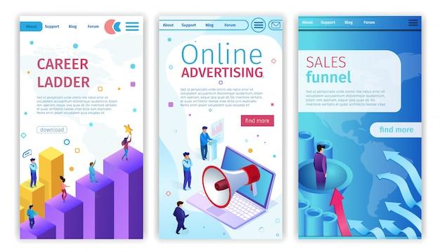 Échelle de carrière, publicité en ligne, entonnoir de ventes. Vecteur Premium