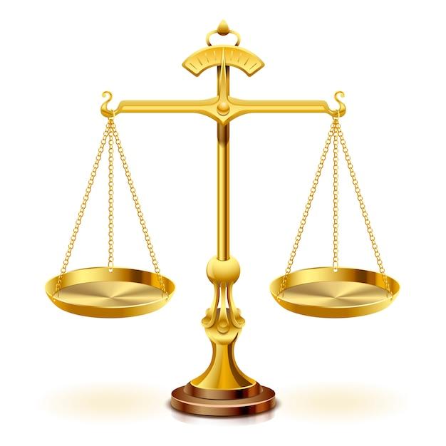 Échelle D'or De La Justice Sur Fond Blanc. Vecteur Premium