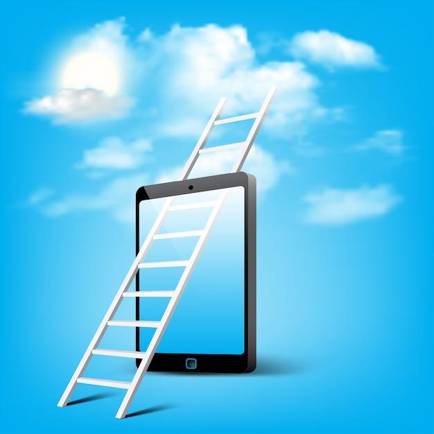 Échelle De Stockage En Nuage Grâce à L'art Conceptuel De Téléphone Intelligent Mobile Vecteur Premium