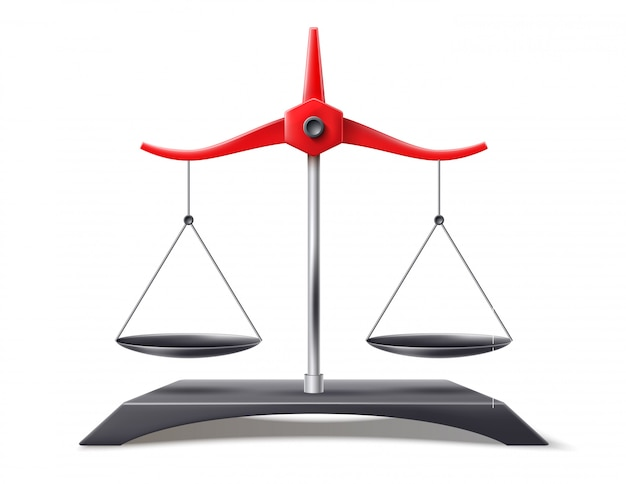 Échelles Réalistes De La Justice, Symbole De L'équilibre Vecteur Premium