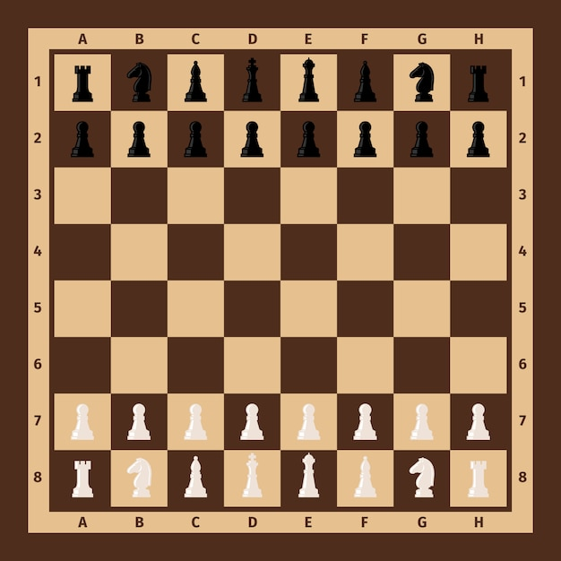 Échiquier avec pièces d'échecs Vecteur Premium