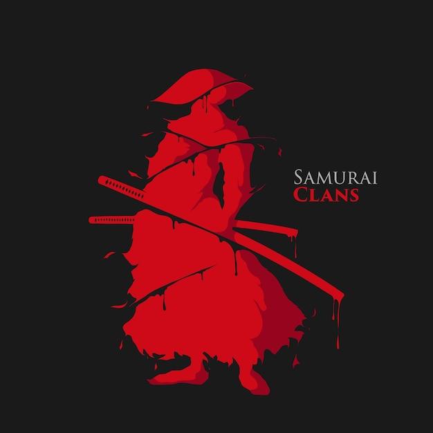 Éclaboussure de guerrier samouraï Vecteur Premium
