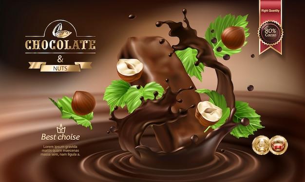 Des éclaboussures 3d De Chocolat Fondu Et De Lait Avec Des Morceaux De Chocolat. Vecteur gratuit