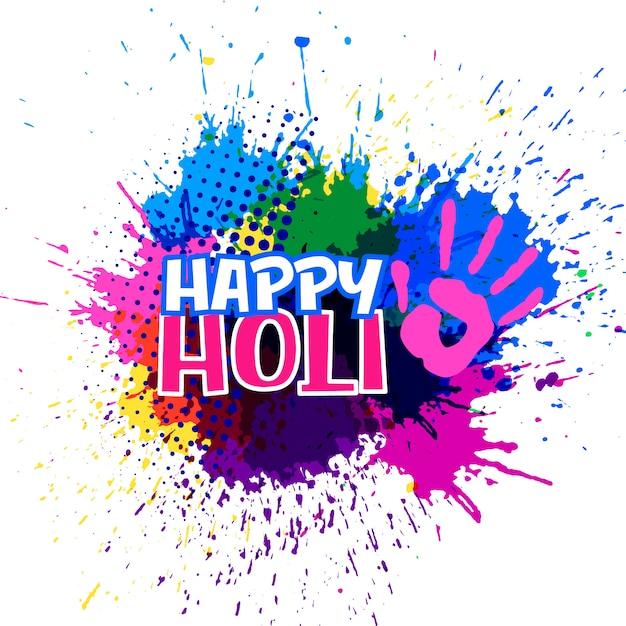 Éclaboussures colorées pour joyeux festival holi Vecteur gratuit