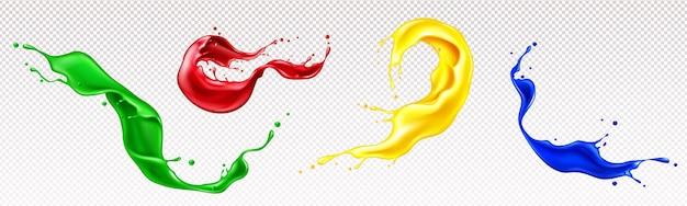 Éclaboussures De Peintures Liquides Avec Des Tourbillons Et Des Gouttes Isolés Sur Transparent Vecteur gratuit