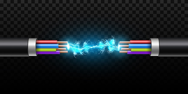 Éclairage électrique incandescent entre le câble de rupture. Vecteur Premium