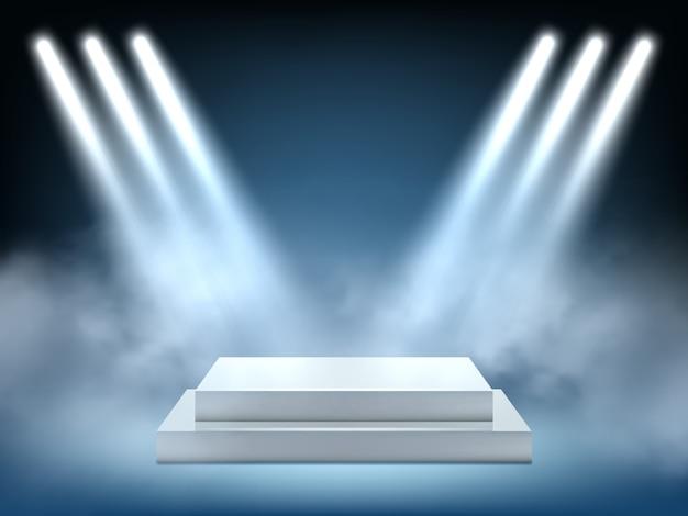 Éclairage Réaliste De Scène. Gagnant Intérieur Podium Lumière Projecteur Lumineux Projection Vecteur 3d Environnement Vecteur Premium