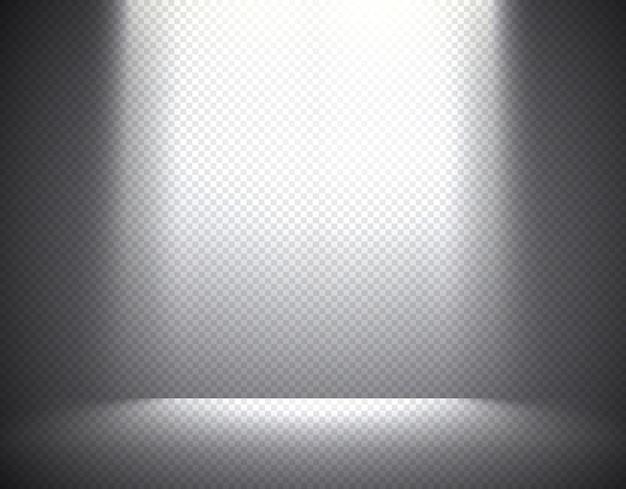Éclairage de scène, effets transparents sur un fond sombre à carreaux. éclairage aérien lumineux. Vecteur Premium
