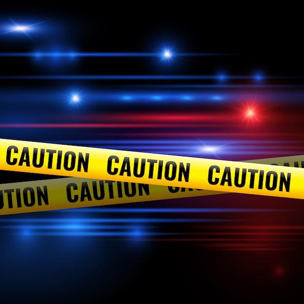 Éclairages de police et bandes de prudence Vecteur Premium