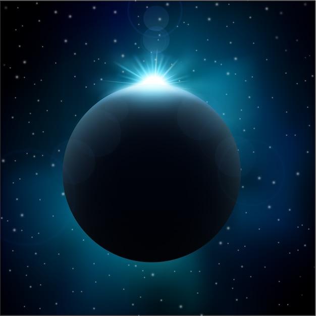 Eclipse Lunaire Dans Le Fond De L'espace Vecteur Premium