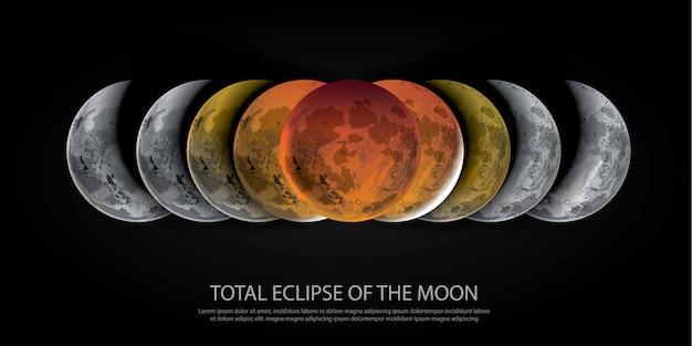 Éclipse totale de la lune Vecteur Premium