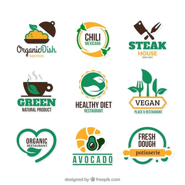 Eco badges alimentaires Vecteur gratuit