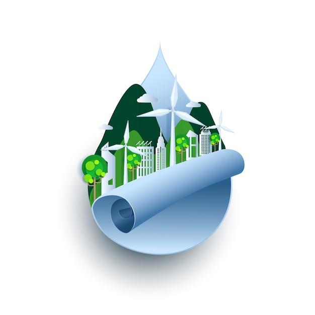 Eco friendly, ville verte et énergies renouvelables Vecteur Premium