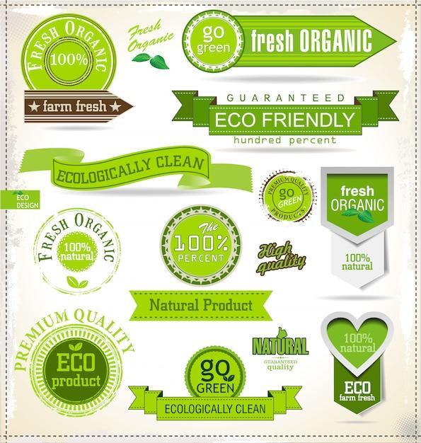 Eco labels Vecteur Premium