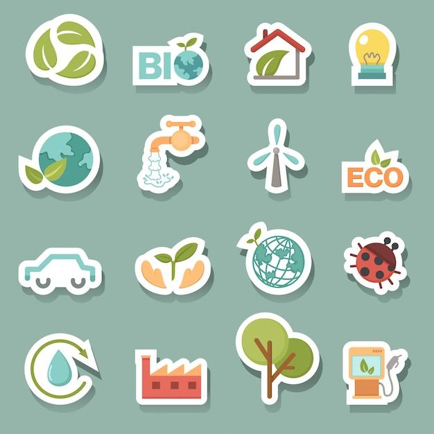Eco set d'icônes vectorielles Vecteur Premium