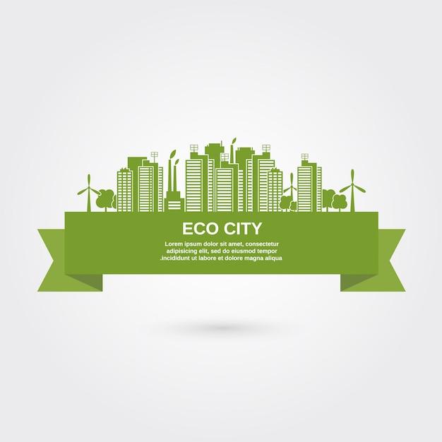 Eco Town Concept Vecteur gratuit