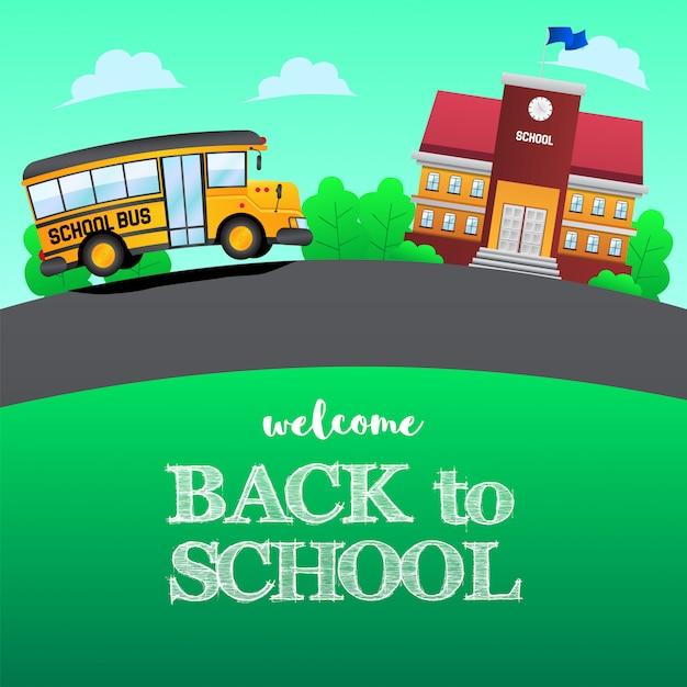 École de bus jaune retour à l'école Vecteur Premium