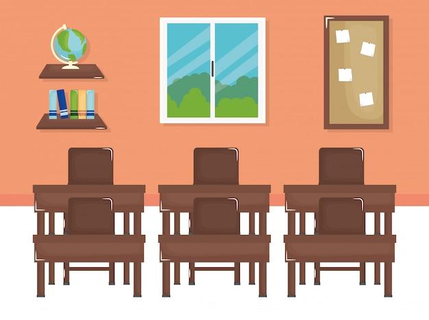 École, classe, à, schooldesks, scène Vecteur gratuit
