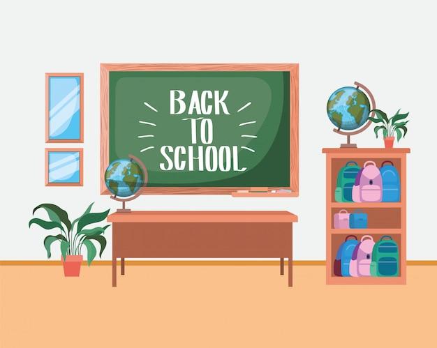 École, classe, à, tableau, tableau Vecteur gratuit