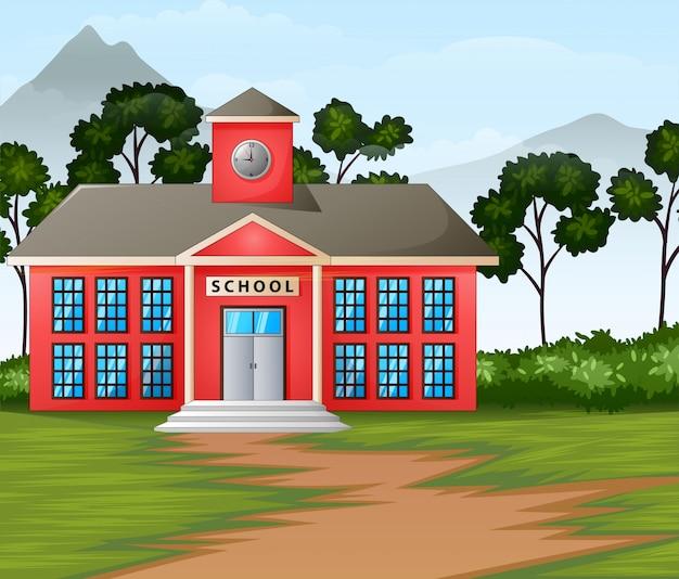 École, construction, dans, fond nature Vecteur Premium