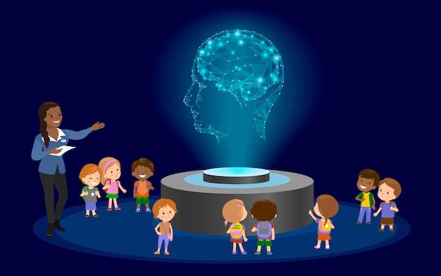 École d'éducation à l'innovation maternelle. hologramme sur le futur centre des musées. Vecteur Premium