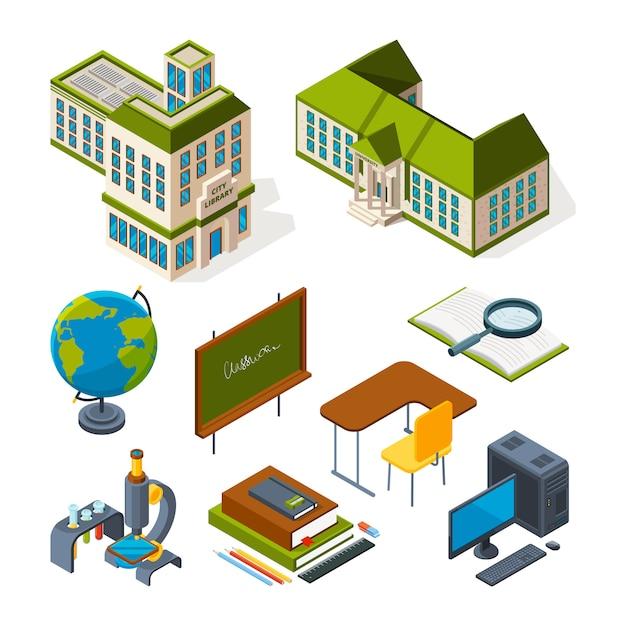 École et éducation isométrique. retour à l'école symboles 3d Vecteur Premium