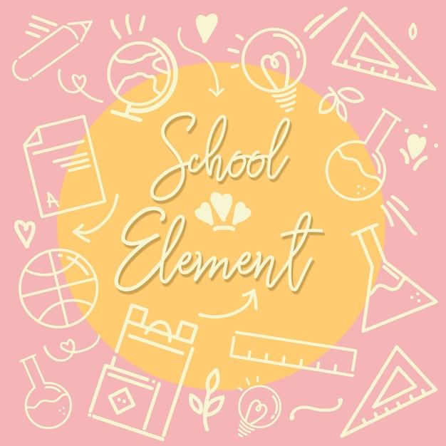 École élément contour icône rose Vecteur Premium