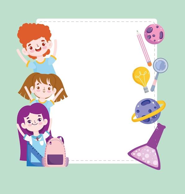 École étudiants Mignons Science Tube à Essai Planète Crayon Dessin Animé Bannière Illustration Vecteur Premium