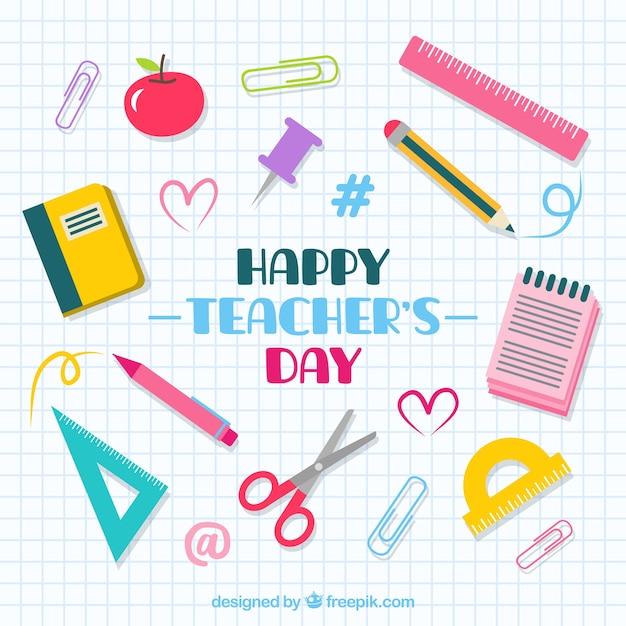École sur une feuille de cahier, journée de l'enseignant Vecteur gratuit