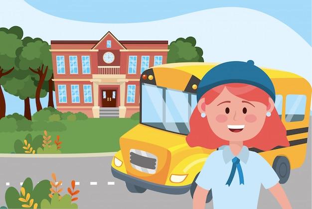 École fille et bus Vecteur gratuit