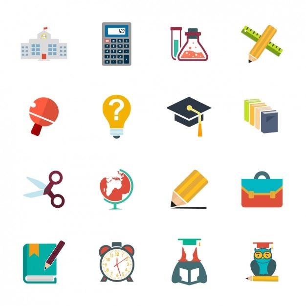 Ecole icon collection Vecteur gratuit