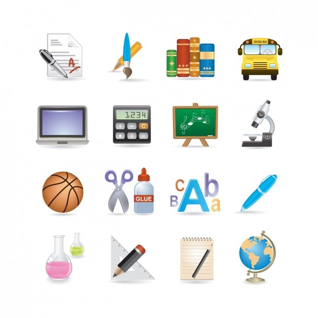 Ecole icon set Vecteur gratuit