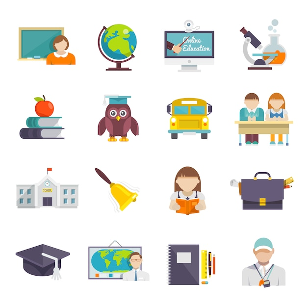 École icône plat Vecteur gratuit