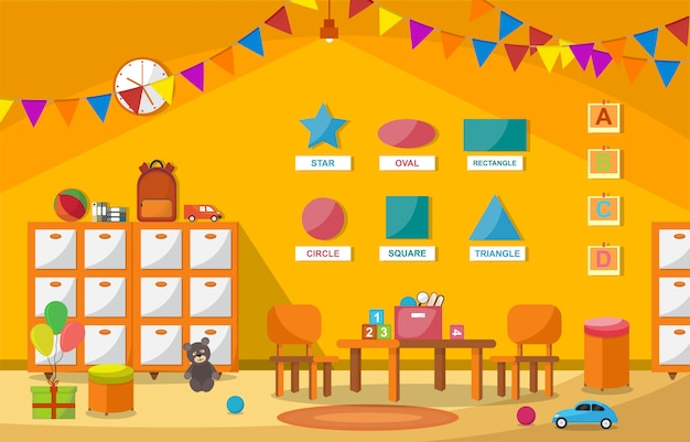 École maternelle classe intérieur enfants enfants école jouets jouets meubles Vecteur Premium