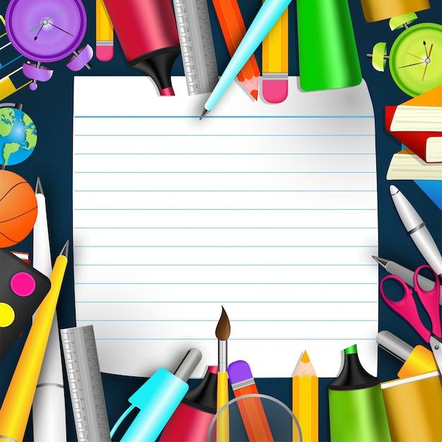 École de papeterie et papier-papiers blank�, concept de retour à l'école Vecteur gratuit