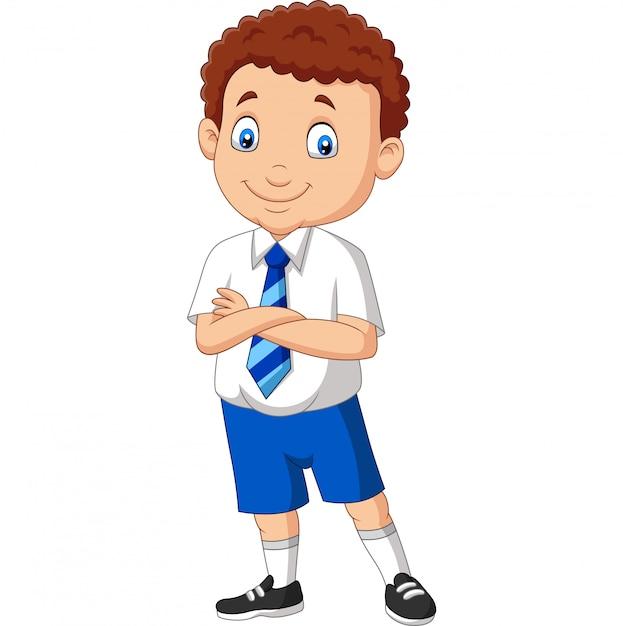 Écolier dessin animé, dans, uniforme, poser Vecteur Premium