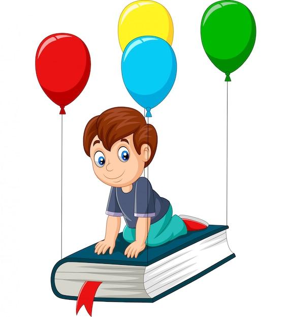 Écolier dessin animé voler sur un livre Vecteur Premium