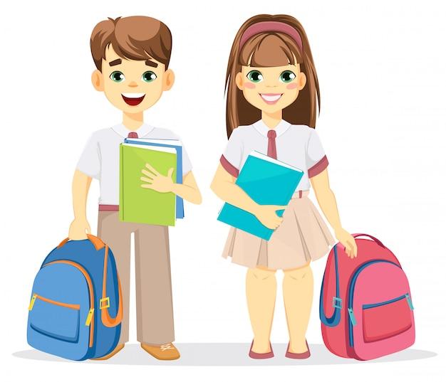 Écolier et écolière Vecteur Premium