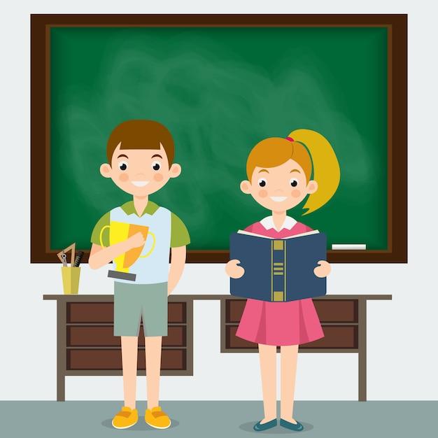 Écolière et écolier dans une classe Vecteur Premium