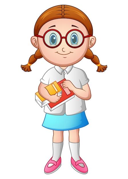 Écolière avec un livre Vecteur Premium