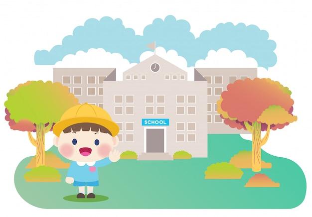 Écoliers et bâtiment de l'école primaire Vecteur Premium