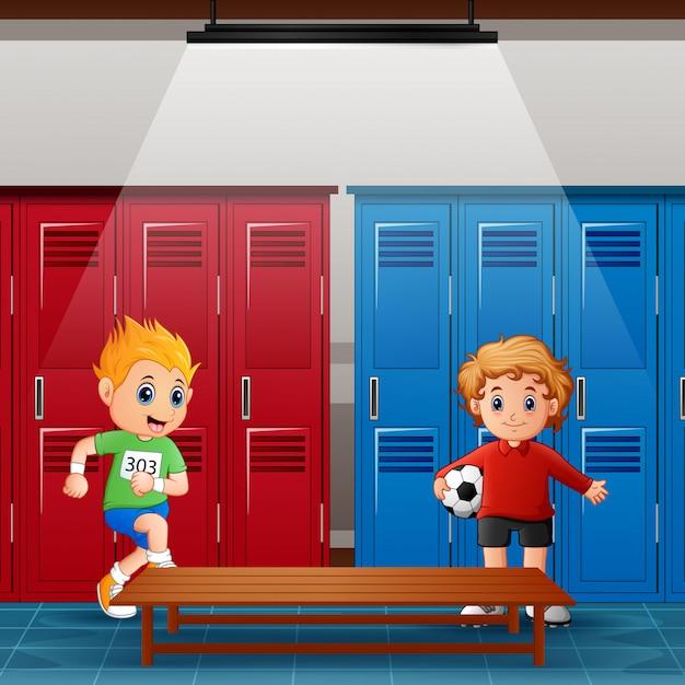 Des écoliers dans le vestiaire après l'activité Vecteur Premium