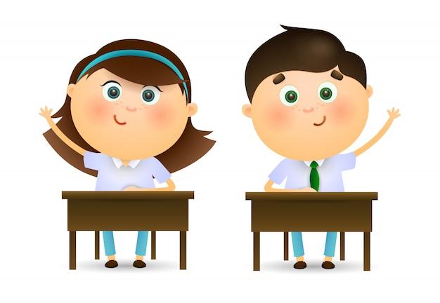 Écoliers, levant mains, à, leçon Vecteur gratuit