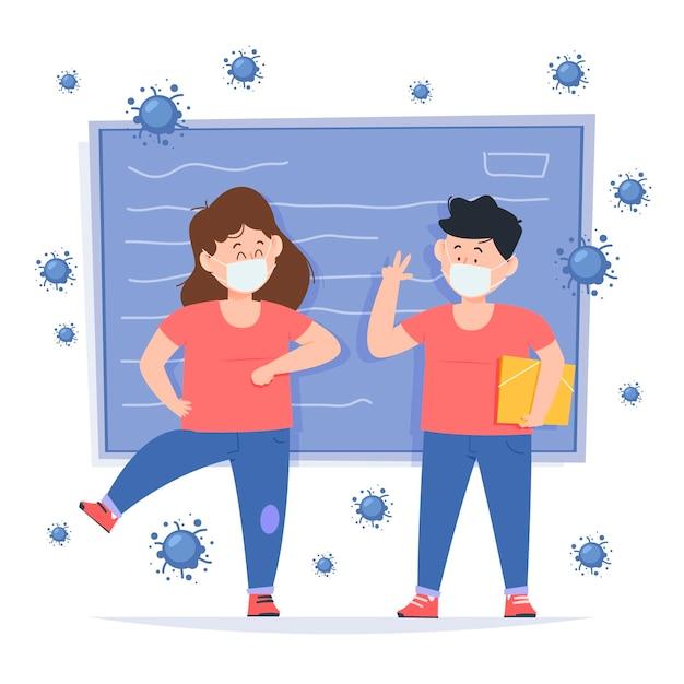 Les écoliers Saluent Dans La Nouvelle Normalité Vecteur gratuit